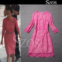 2015 summer sexy women long sleeve one piece dress brand designer dresses large size runway dress  fashion lace dress pink XL