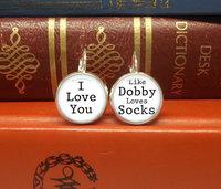 new Hot sale wholesale price 1pcs/lot Harry potter i love you like dobby loves socks dangle drop stud earrings