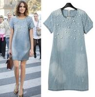 2015 New Women Fashion Denim Short-Sleeved Loose Beaded Denim Dress free shipping