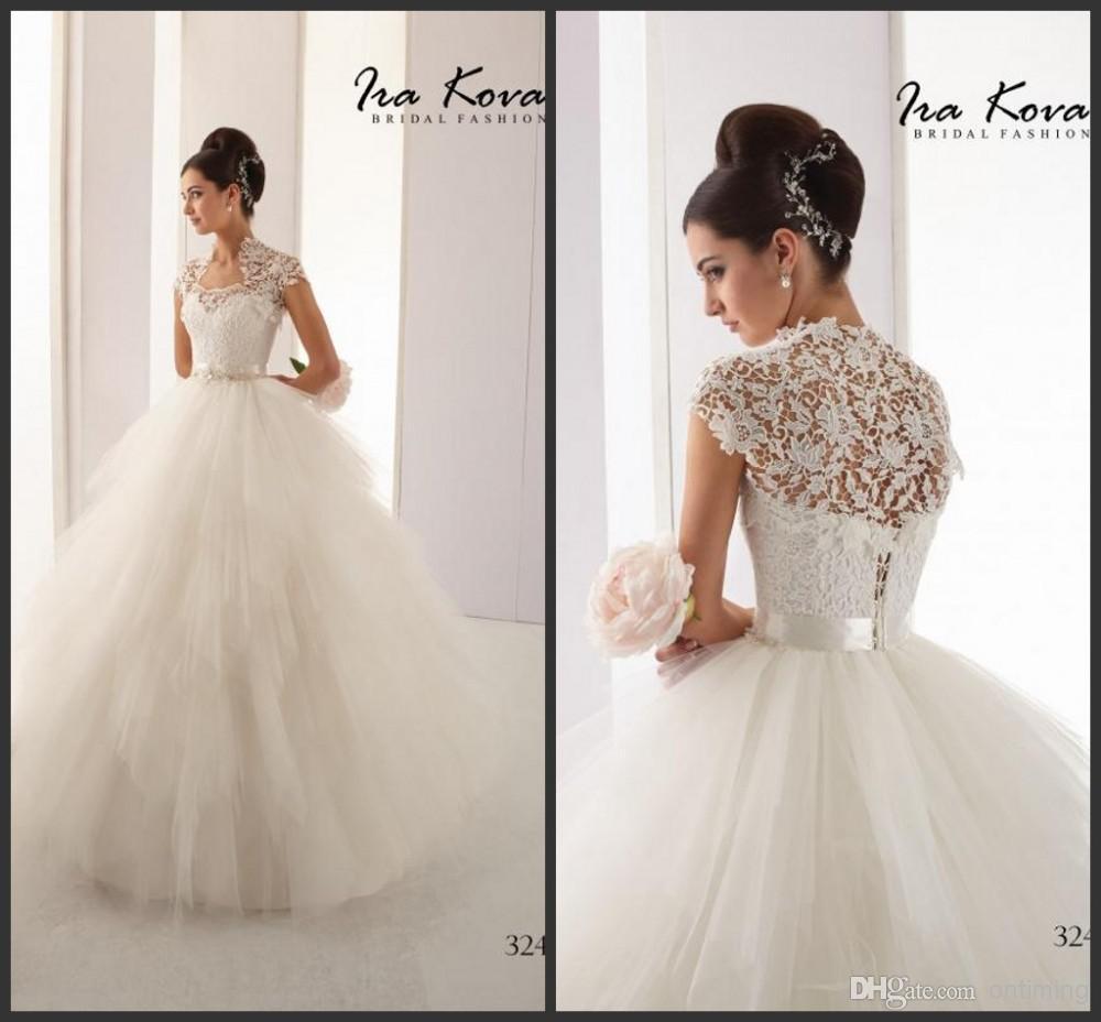 Ball gown vintage wedding dresses 2015 lace bolero jacket sweetheart