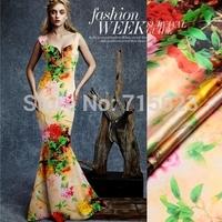 15013109 Free Shipping  dream flower Digital Printed elastic silk Satin Fabric