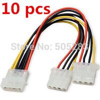 10pc 15cm NEW 4 Pin Molex Male to 2x 4-Pin Molex IDE Female Power Y-Splitter Adapter Cable HY316-1