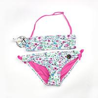 Free Shipping summer new girl's baby infant kids children's split 2 pcs print flower bikini swimwear bathing set swimsuit