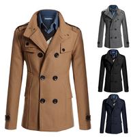 New Hot Drop shipping Man down Wholesale 2015 men's long Spring wool blend Tench coats&jacket long sleeves