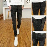 Free shipping! 2015 new men's fashion dark gray jeans feet Slim micro-bomb