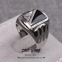 2015 Fashion Korean Style Rings Retro Anel Prata Platinum Filled Black Petrol Dripping Wedding Rings For Unisex Anillos
