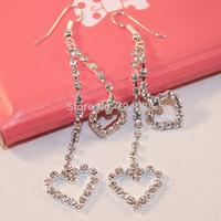 Temperament Jewelry Super Shiny Double Love Heart Eardrop Women Silver Plated Drop Earrings chaine strass women's accessories