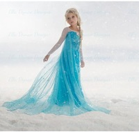 2015 New Arrive Anna and Elsa Baby Girls coronation party princess Dress for Kids clothing summer long dresses sky blue