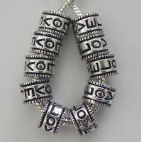 100pcs Antique Silver Zinc Alloy  Love w/ Heart Spacer Beads fits European Style Charm Bracelets / Necklaces 11x8mm ZH4005