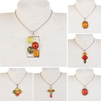Vintage Tibet Silver Chain Necklace For Women Faux Amber Gem Pendant Statement Necklace Jewelry Hot Sale