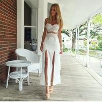 European and American Hot Lace Bra straps slit dress, street style women's dress