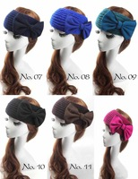 Free DHL New Fashion Big Bow Women Headbands Flower Headband Winter Knitted Headwraps Crochet Hair Bands Ladies Hair Accessories