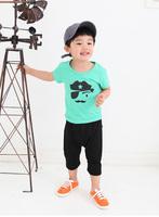 Summer Kids Baby Boy Short Sleeve T shirt Round Neck Cotton Blouse Tops 2-6Years