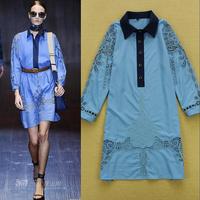 2015 summer women long sleeve one piece dress brand designer dress loose classic  large size runway dress light blue shirt dress
