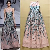 2015 Runway Trends Noble Formal Full Dress Women's Charming Sleeveless Blue Rose Floral Printed Floor Length Long Dress