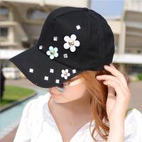 Fashion treding women sweet solid color baseball caps summer small flower hip hop cap casual outside sport sunbonnet