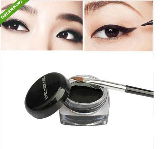 1Pcs Hot Sale Black Waterproof Eye Liner Eyeliner Gel Makeup Cosmetic + Brush Makeup Set(China (Mainland))
