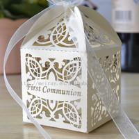 laser cut cross favor boxes for communion party,wholesale communion supplies&first communion decor