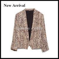 2015 New Arrival Women Casual Snake Pattern Cheap Female Notched Collar Floral Print Blazer Blaser Feminino