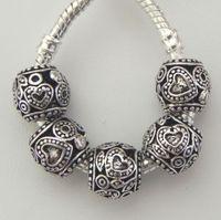 50pcs Antique Silver Zinc Alloy Hidden Heart Spacer beads for European Style Charm Bracelet & Necklace 10x11mm ZH4004