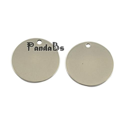 201 Flat Round Stainless Steel Tag Pendants, 201 Stainless Steel Color, 20x1mm, Hole: 2mm(China (Mainland))