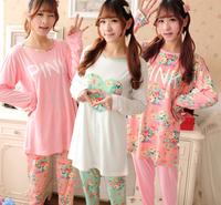 Spring Autumn Women Comfortable Long-sleeve Mile Silk Fresh Sweet Floral Print Sleepwear Pajama Sets Nightgowns yc15003
