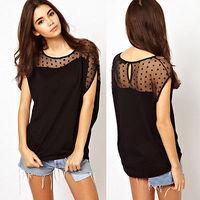 Summer 2015 Loose Thin Women Polka Dot Patchwork Gauze T-shirt Asymmetric Black