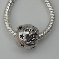 50Pcs Antique Silver Moon & Star Spacer Beads European Style fits Serjaden Charm Bracelet / Necklace 12x12mm ZH4010
