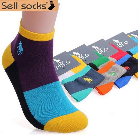 1 pair new 2014 high quality spring summer casual Men's Socks Men Brand Cotton man socks Colorful male polo Socks(China (Mainland))
