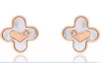 Heart-shaped diamond earrings Clover female models titanium steel rose gold plated