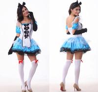 Fantasy wonderland Bitter fleabane bitter fleabane princess dress sexy maid's outfit  Halloween costumes  Wholesale Freeshipping