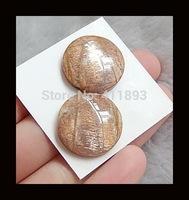 Natural Sunstone Cabochon Pairs ,20x20x5mm,6.3g