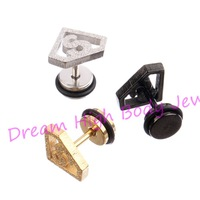 Superman Ear Stud S Logo Triangle Geometric frosted Earrings Jewelry 60 pieces/lot 316l Stainless Steel  Black Gold Silver Punk