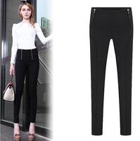 2015 new Euro american style spliced women pants fake zippers design slim pencil pants free shipping J1133