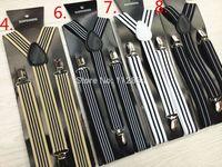 Free Shipping+Wholesale Adult's Adjustable Clip striped suspenders braces,200pcs/lot