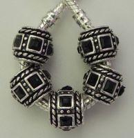 30Pcs Zinc Alloy Black Square Stone Antique Silver fits European Style Bracelets Necklaces 10x12mm ZH4014