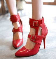 Dropshipping Fashion Sexy Buckle Red Bottom High Heels Pumps Womens Wedding Pointed Toe Shoes