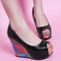 Dropshipping Fashion Open Toe High Heels Platform Pumps Womens Wedding Wedge Shoes