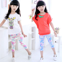 Pls buy any 2pcs in shop 2015  summer Size100~140 girls leggings children pants child trousers seventh camouflage legging