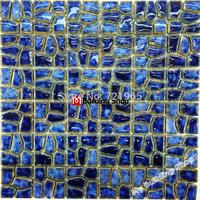 Blue porcelain mosaic kitchen wall tiles backsplash PCMT132 bathroom floor tiles swimming pool mosaic porcelain tile
