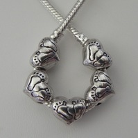 50pcs Antique Silver  Footprint Heart Spacers Beads fits European Style Charm Bracelet / Necklace 10x11mm ZH4009