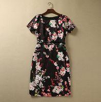 S-XXL 2015 new runway spring Brand O neck peach blossom spray flower print jacquard plus size one piece dress 780150