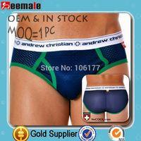 New 2014 Andrew Christian Briefs Comfortable Sexy Men's U Convex Pouch Briefs Men AC Underwears Man Briefs SA10027