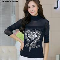 Korean Style Spring Autumn Winter 2015 Women's Clothing High Collar Ladies Blouse Plus Size Long Sleeve T Shirt Women Tops 6253