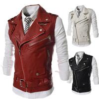 Free Shipping!Punk style multi-zipper design men's leather vest,Pank-stil' mul'ti- Molniya dizayn muzhskoy kozhanyy zhilet
