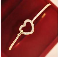 SL088 Hot Fashion 2015 New Korean version of the full hollow imitation diamond love bracelet Wholesale Jewelry Accessories