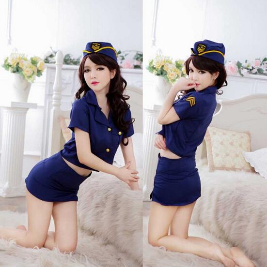 Venta al por mayor sexy lingerie sexy ropa vestir azafata uniformes de la policía tentación alumnas vestido de uniforme azul alta calidad(China (Mainland))