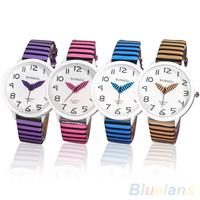 10343 Women's Fashion Round Zebra Stripes Faux Leather Strap Quartz Analog Wrist Watch