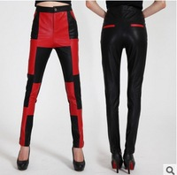 2015 New Spring Brand high quality  PU Pants Women  winter Europe and the United States faux fur splicing leather trousers