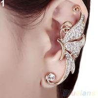 1pc Shiny Womens Butterfly Wings Shape Left Ear Clip Clamp Earrings